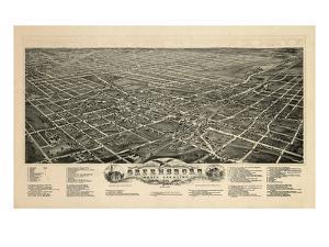 1891, Greensboro Bird's Eye View, North Carolina, United States