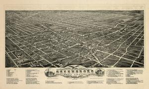 1891, Greensboro Bird's Eye View, North Carolina, United States