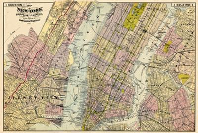 1891, New York, Map, Brooklyn, Jersey City, New York, United States