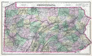 1891, Pennsylvania State Map, Pennsylvania, United States