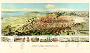 1891, Salt Lake City Bird's Eye View, Utah, United States