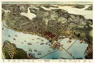 1891, Seattle Bird's Eye View, Washington, United States