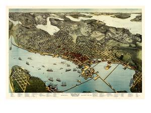 1891, Seattle Bird's Eye View, Washington, United States