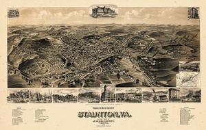 1891, Staunton Bird's Eye View, Virginia, United States