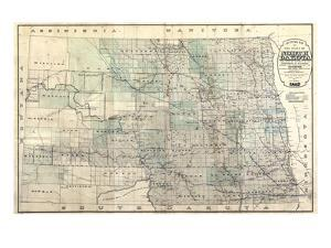 1892, North Dakota 1892 State Map, North Dakota, United States
