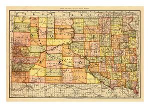 1892, South Dakota State Map, South Dakota, United States