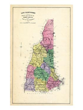 1892, State Map New Hampshire, New Hampshire, United States