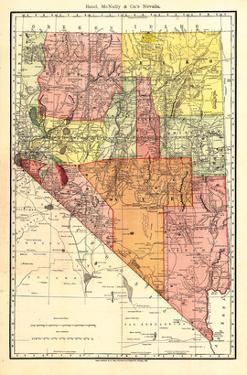 1893, Nevada State Map, Nevada, United States