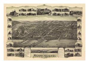 1894, Atlantic Highlands Bird's Eye View, New Jersey, United States