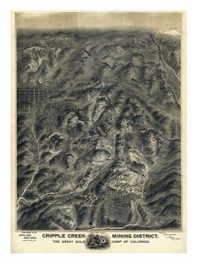 1895, Cripple Creek Mining District 1895c Bird's Eye View, Colorado, United States