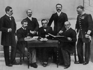 1896 Olympic Committee: Baron Pierre de Coubertin is Second from the Left