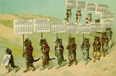 1897 Calendar with Parading Cats