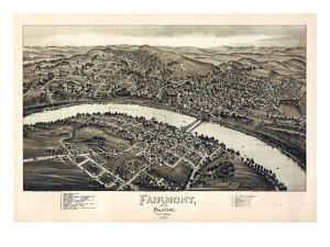 1897, Fairmont and Palatine Bird's Eye View, West Virginia, United States