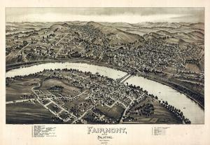1897, Fairmont and Palatine Bird's Eye View, West Virginia, United States