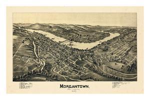 1897, Morgantown Bird's Eye View, West Virginia, United States