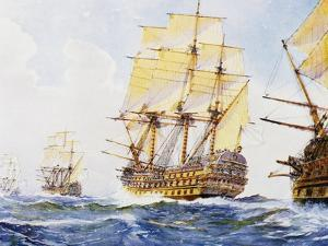 18th Century Ships in Single File Close-Hauled to Starboard Tack