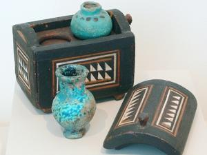 18th Dynasty Cosmetics Case with Two Ointment Vessels