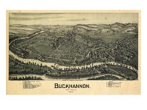 1900, Buckhannon Bird's Eye View, West Virginia, United States