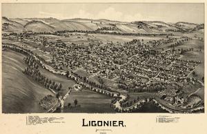 1900, Ligonier Bird's Eye View, Pennsylvania, United States