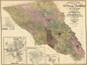 1900, Sonoma County Wall Map, California, United States