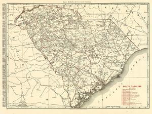 1900, South Carolina Railroad Map, South Carolina, United States