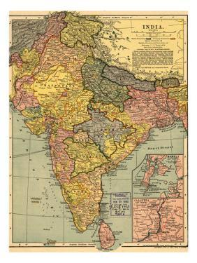1902 Map of India, Then a Colony Within the British Empire, Showing Internal Boundaries