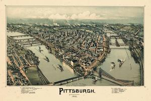 1902, Pittsburgh Bird's Eye View, Pennsylvania, United States