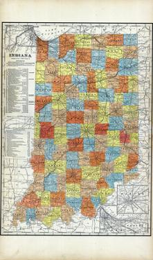 1903, Indiana State Map, Indiana, United States