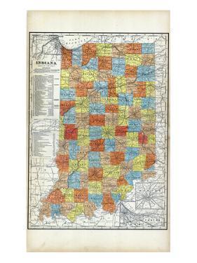 1903, Indiana State Map, Indiana, United States
