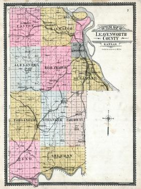 1903, Leavenworth County Outline Map, Kansas, United States