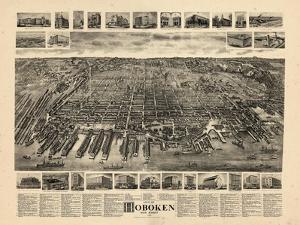1904, Hoboken Bird's Eye View, New Jersey, United States