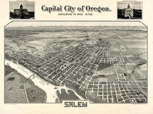 1905, Salem Bird's Eye View, Oregon, United States