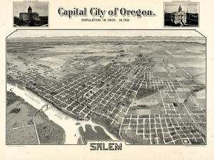 1905, Salem Bird's Eye View, Oregon, United States