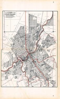 1907, Flint - Ward and Street Map, Michigan, United States