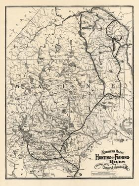 1907, Hunting and Fishing Map of Northern Maine from Piscataquis Directory, Maine, United Stat
