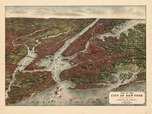 1907, New York City 1907 Bird's Eye View, New York, United States