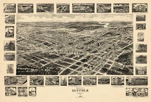 1907, Suffolk Bird's Eye View, Virginia, United States