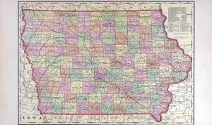 1908, Iowa State Map, Iowa, United States