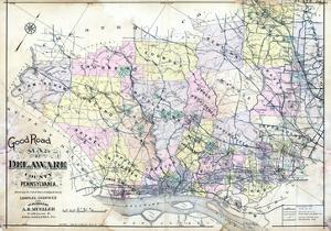 1910, Delaware County Road MAp, Pennsylvania, United States