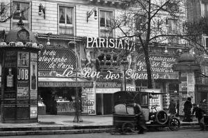 1910 Street Scene Showing a Kiosk and the Front of the King of Cinemas Theater Paris,, France