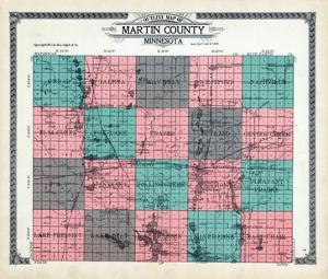1911, Martin County Outline Map, Minnesota, United States