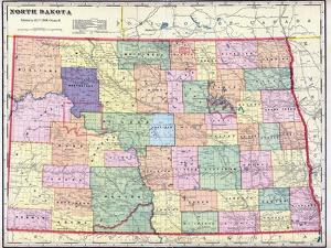 1911, North Dakota State Map, North Dakota, United States