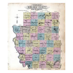 1912, Burleigh County Outline Map, North Dakota, United States