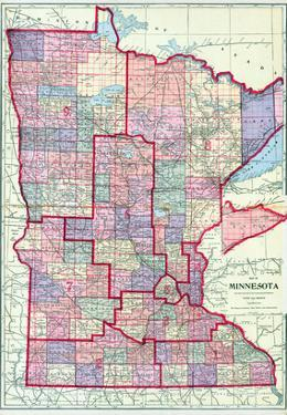 1912, Minnesota State Map, Minnesota, United States