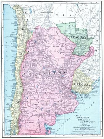 1913, Argentina, Bolivia, Chile, Paraguay, Uruguay, South America, Chile, Argentina, Paraguay