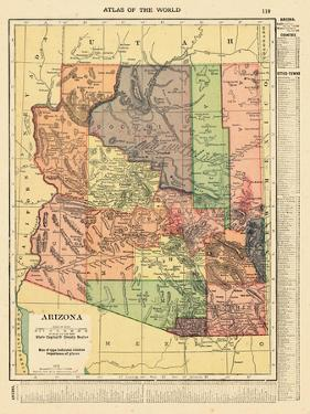 1914, Arizona State Map 1914, Arizona, United States