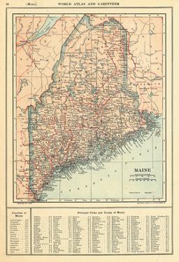 1914, Maine State Map 1908 Revised 1914, Maine, United States