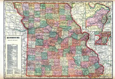 1914, State Map, Missouri, United States