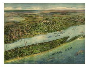 1915 Aerial View of West Palm Beach, North Palm Beach and Lake Worth, Florida