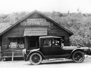 1916 Cadillac V8 Car, Parked Outside a General Store, USA, (C.191)
